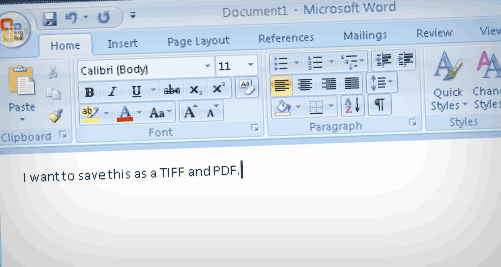 Microsoft word to to export to TIFF or PDF