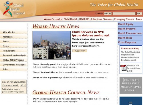 Global Health Council Website Design