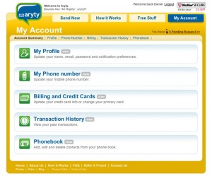Aryty Account Settings Page